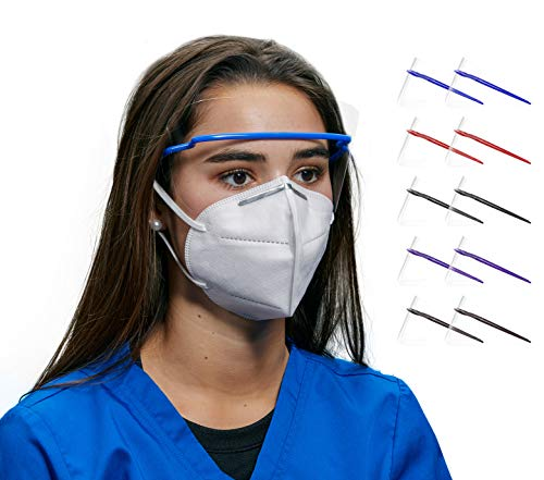 10 Eye Safety Glasses by ICU Health - Boxes of Multicolored Disposable Eye Shields, Transparent, Anti-Fog Protection in 5 Colors (10 pieces/box)
