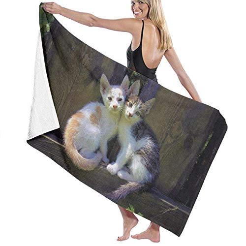 Toalla Shower Towels Beach Towels Gatos lindos en la ilustración del jardín Toalla De Baño 80X130CM