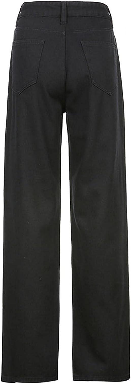 Aiouios Straight Jeans for Women Fashion High Waisted Pocket Skull Print Denim Pants Stretch Baggy Wide Leg Jeans Streetwear