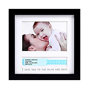 IHEIPYE Baby Keepsake Hospital ID Bracelet and Photo Frame, I Love You to The Moon&Back – Baby Picture Frame – Baby Nursery Memory Art Frames, Baby Shower Picture Frames for Baby Registry