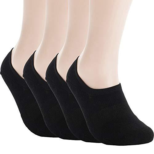 Pro Mountain No Show Socks - Athletic Cushion Cotton Sports Footies For Men (XL(US Men Shoe Size 10~12, size12), Black 4 pairs Pack XL size)