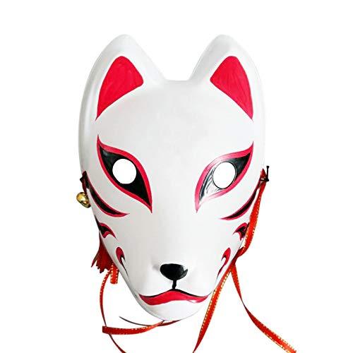 Ishine Máscara de zorro, máscara de Kitsune, dibujo a mano, máscara de gato para disparar vídeos divertidos, rendimiento especial, mascarada Navidad, Halloween, japonesa