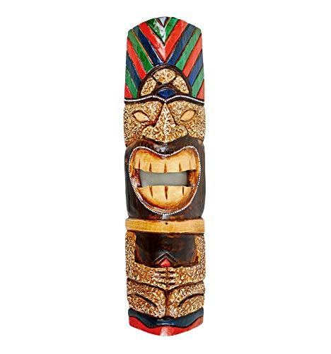 Coco Papaya - Máscara Tiki Maori (50 cm, madera tallada), multicolor