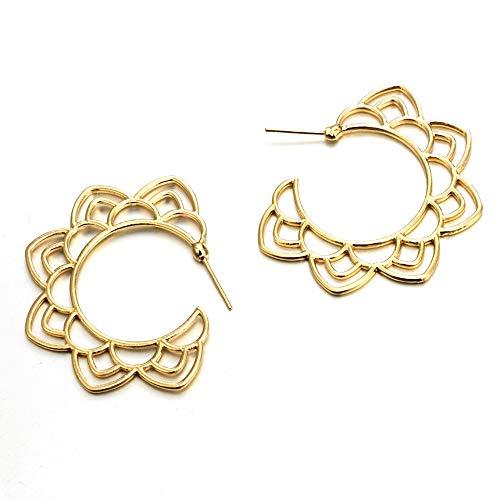JJXDP Ohrringe Gold Silber Blume Lotus Stud Spiral Ohrringe für Frauen Creolen