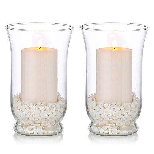 YVX Glass Pillar Candle Holders 2 Pcs Candle Holder for80 x 150mm Candles, Storm Vase Fit for Floating Candle Meditation Wedding Table Centrepiece Dining Room Decor Garden Outdoor