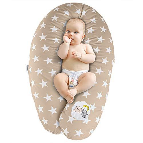 Coussin d'Allaitement et de Grossesse | Maternité Bebe Oreiller XXL 190 x 30 cm | Remplissage Hypoallergénique | Taie 100% Coton Amovible et Lavable