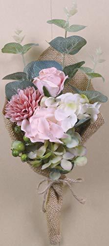 ケーアイ(K-ai) 人工観葉植物 ピンク W12×D9×H30cm アンティーク ブーケ 163145