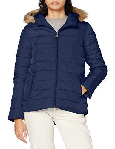 Roxy Rock Peak Fur-Chaqueta con Capucha Y Acolchado Resistente Al Agua para Mujer, Mood Indigo, XL
