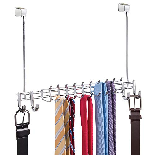 mDesign Metal Over Door Hanging Closet Storage Organizer Rack for Bedroom Closet Bath - Holds MensWomens Ties Belts Slim Scarves Jewelry Accessories - 4 Large Hooks 20 Small Hooks - Chrome