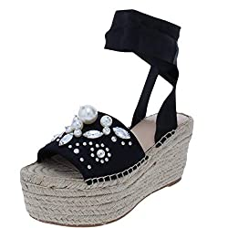 commercial G ByGuess Casual Open Toe Platform Sandals Women's Black Satin Size 7.0 guess platform heels