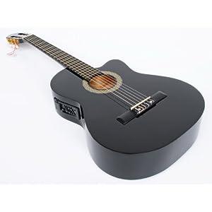 Cherrystone 4260180883343 4/4 4 Band Klassik Gitarre mit Tonabnehmer EQ schwarz