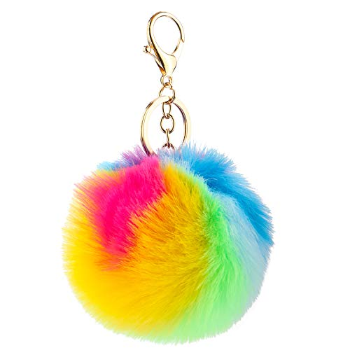 Kereda Pom Pom Keychain Fluffy Faux Fur Ball with Gold Plated Keyring Handbag Backpack Hanging Ornament Pendant Accessory for Ladies Girls Women