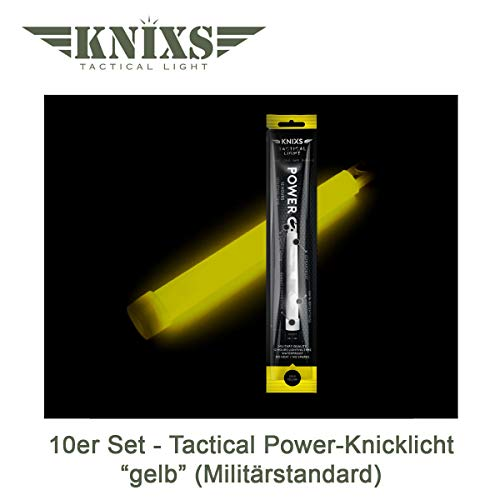 10er Set - Power-Knicklicht/Leuchtstab Tactical Light im Militär-Standard - gelb leuchtend (6