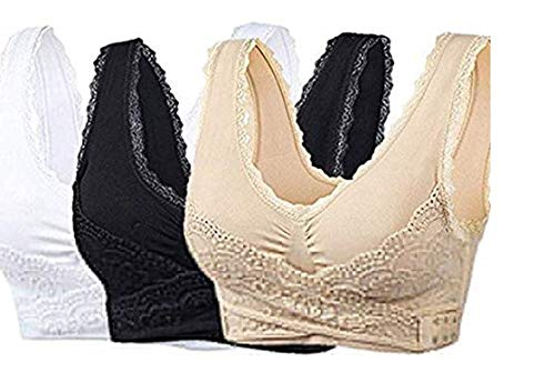 New Special Women's 3-Pack Women Seamless Cross Front Side Buckle Lace Sport Push Up Bra Yoga Running Bras with Removable Pads (L)