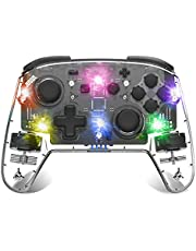 Wireless Switch Controller, binbok Wireless Pro Controller for Switch Remote Gamepad with Joystick, Adjustable Turbo Vibration, Transparent