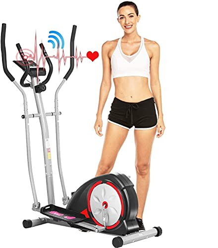 ANCHEER Elliptical Machines for Home Use, Magnetic Elliptical Training Machine with Pulse Rate Grips and LCD Monitor, Smooth Quiet Driven for Home Gym Office Workout Max Capacity Weight 350LBS