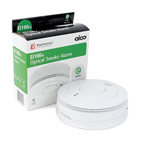 Aico EI166e Serie 160e 240 V Alarma de Humo óptica con batería de Litio Recargable, Base de Ajuste fácil