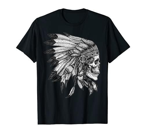 American Motorcycle Skull Native Indian Eagle Chief Vintage Camiseta