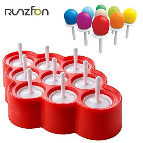Naisidier 9pcs Mini Moldes de Helado de Silicona Moldes de Popsicle Hielo Pop/Lolly/Juego de Herramientas Crema para los Regalos del cumpleaños del Partido Juguetes (Rojo)