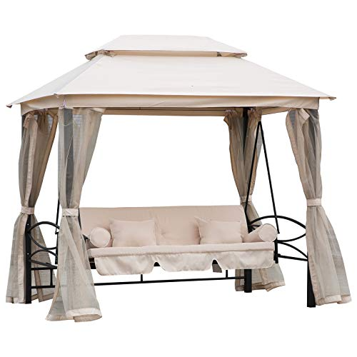 Outsunny 2-in-1 Convertible Swing Chair Bed 3 Seater Hammock Gazebo Patio Bench Cushioned Seat Mesh Curtains - Cream White