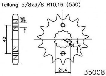 Ritzel 15 Zähne Stahl 530er Teilung 5 8x3 8 Für Kawasaki Zzr 600 Zx600d 1990 1992 Auto