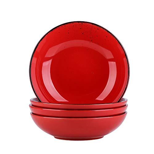 vancasso Navia Tropical 8.6' Soup Plate Porcelain Red in Vintage Look Nature Ceramic Soup Plate Set, Set of 4 (21.5 * 21.5 * 4.5cm)