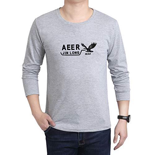 Camiseta de Manga Larga para Hombre, Cuello Redondo, Talla Grande, Camisa de Fondo, Ropa Suelta para Hombre