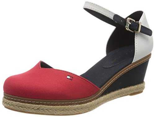 Tommy Hilfiger Damen Basic Closed Toe MID Wedge Peeptoe Sandalen, Rot (RWB 0kp), 40 EU