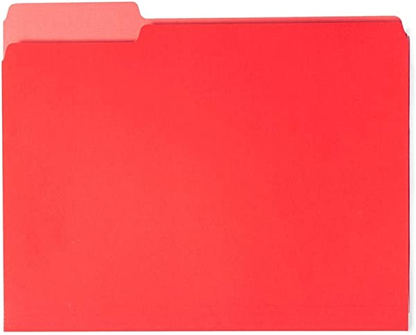 100 Pack Red 1 3 Cut File Folder