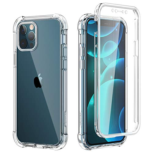 "SURITCH Funda iPhone 12 Pro MAX 6,7"" 360 Grados Transparente y Protector Antigolpes [Ultra Hybrid] PC Dura Resistente + TPU Silicona Bumper, Doble Cara Carcasa - Claro"