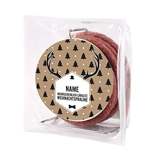 Herz & Heim® Salami-Kabeltrommel - längste Praline der Welt - mit Namensaufdruck in der Weihnachtsedition