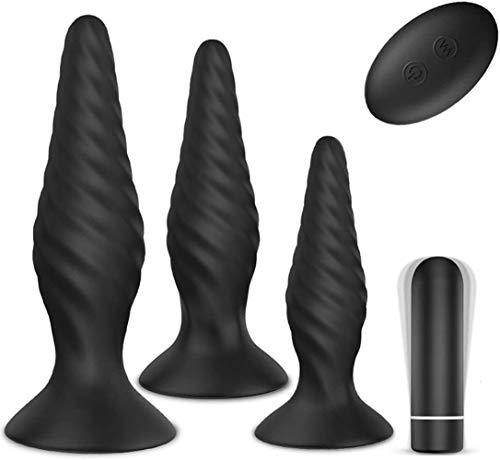 Plug Anạlés Vibrạdór Kit (Ø29mm,Ø34mm&Ø38mm) NESTORM Vibrạdórés de Cóntról Rémótó con 9 Modos de Vibración Juguétés Séxual para Mujér Hombré Paréjạs, 3PCS (Potenciar)