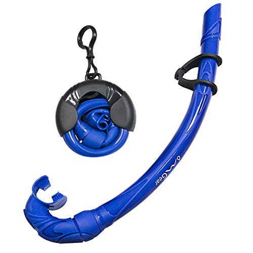 OMGear Schnorchel Schnorchel Schnorchel Nass Tauchen Ausrüstung Frediving Speerangeln Schwimmen Roll Up Flexible Easy Breath Basic Schnorchel Silikon Backup Schnorchel Clip Mundstück, blau