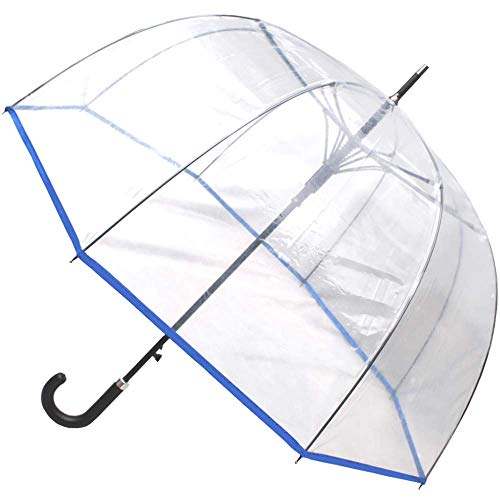 COLLAR AND CUFFS LONDON - Rare Automatic - Extra Strong Windproof - StormDefender Panoramic - Dome Umbrella - Highly Engineered to Combat Inversion Damage - Fiberglass Ribs - Blue Trim Canopy - Clear