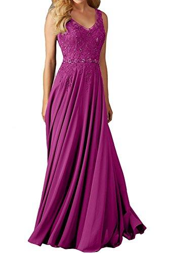 La_Marie Braut Fuchsia Langes Spitze V-Ausschnitt Abendkleider Brautjungfernkleider Ballkleider festlichkleider-46 Fuchsia
