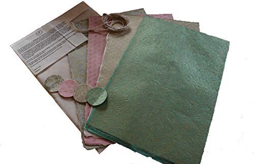 Maharanis Fairdtrade Handgeschöpftes Papier Lokta Daphne Papier zum Verpacken, Basteln und mehr 4er Set Pastelltöne aus nachhaltiger Handwerksfertigung