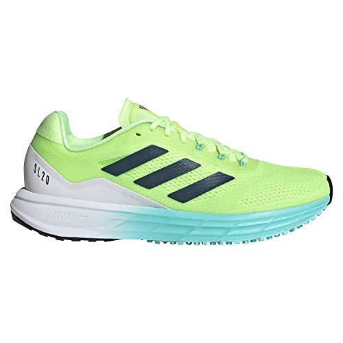 adidas Women's SL20 Running Shoe, Yellow/Crew Navy/Aqua, 7