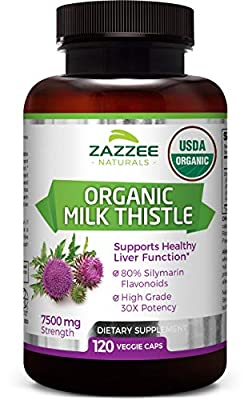 Organic Milk Thistle | 7500 mg Strength | 120 Veggie Caps | 80% Silymarin Flavonoids | Potent 30:1 Extract | USDA Certified Organic | Non-GMO and All-Natural | Vegan | Extra Strength Liver Detox