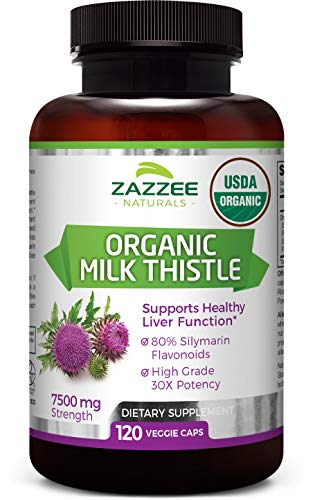 Zazzee USDA Organic Milk Thistle Extract Capsules, 120 Vegan Capsules, 7500 mg Strength, 80% Silymarin Flavonoids, Potent 30:1 Extract, USDA Certified Organic, Vegan, Non-GMO and All-Natural