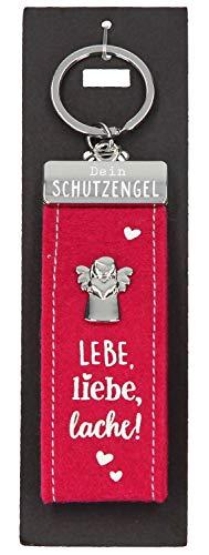 Depesche 10890.005 Schlüsselanhänger aus Filz, mit Schutzengel und Aufschrift, LEBE, Liebe, Lache, rot, ca. 15 cm