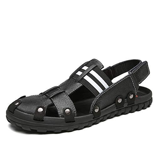 ailishabroy Zapatos Ajustables de Cuero Real para Hombre en Color Negro/Marrón Ajustados Zapatos de Sandalias de Confort en Gladiador de Verano