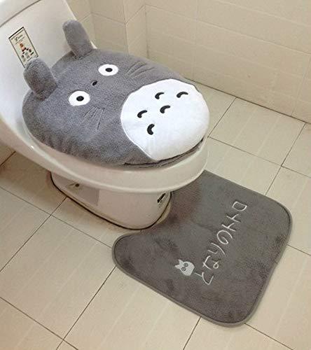 GSDJU Wc Teppich,Badteppich,Toilettenmatte3 Stück Cartoon Totoro Badezimmer Set Toilettenbezug Winter Warm Soft Plüsch Sitzkissen Toilettenbezug Bad Fußpolster Closestool Mat