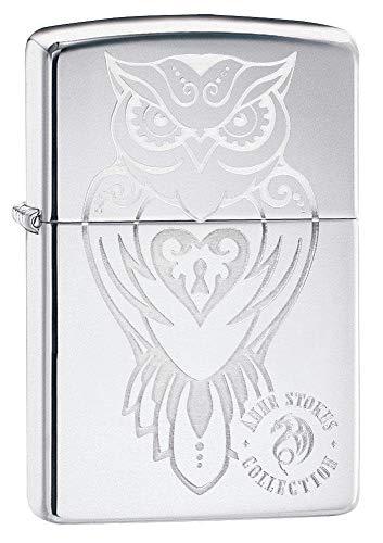 Zippo Anne Stokes Owl with Heart Locket High Polish Chrome Pocket Lighter, One Size