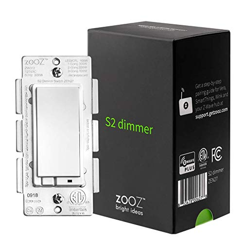 Zooz Z-Wave Plus S2 Wall Dimmer Switch ZEN27 with NEW Simple Direct 3-Way and 4-Way (Works with Existing On Off Switches, No Add-Ons) and NEW No-Flicker Dimming (for all LED's up to 100W)