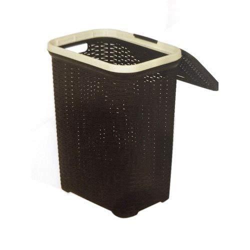 Nilkamal Ventilated Plastic Laundry Basket with Lid 50 LTR. (Dark Beige)