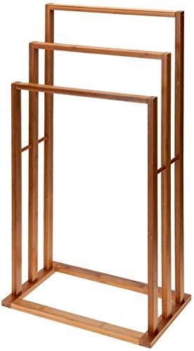 Vetrineinrete® Porta asciugamani da terra 3 braccia appendi asciugamano da pavimento a piantana portasciugamani in legno di bamboo 3 ripiani arredo bagno N11