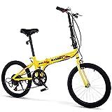 Bicicletas de ocio plegables para hombres y mujeres, adultos, estudiantes, ultraligeras y portátiles, de 16 pulgadas, 50,8 cm, plegables, de velocidad variable, color amarillo, tamaño: 50,8 cm