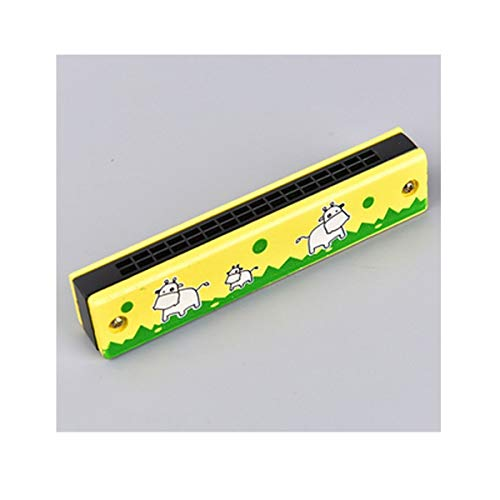 OYZK Armónica, armónica Infantil de Madera de Dibujos Animados, Regalos creativos de música, una Variedad de Colores distribuidos al Azar (Color : Yellow, Talla : 13 * 3 * 2.7cm)