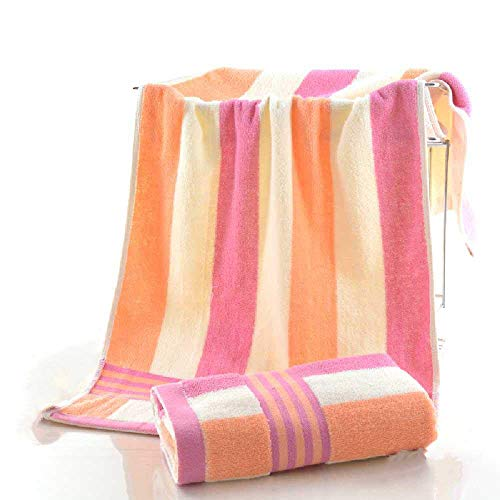 meixiang Baumwoll-Doppelschicht-Handtuch, Gestreiftes Baumwolltuch, Gestreiftes Deckentuch Rosa