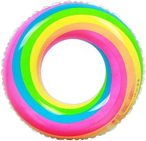 Flotadores De Piscina Arcoíris Inflables,CYSJ Flotador Hinchable, Anillo de Natación Arcoíris para Niños,Anillo de Natación Inflable, Diversión Acuática,Anillo De Natación De PVC para Niños Y Adultos